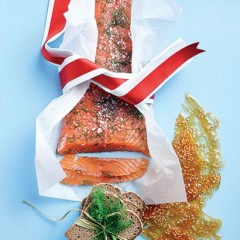Lightly smoked trout with dill and sesame-seed brittle