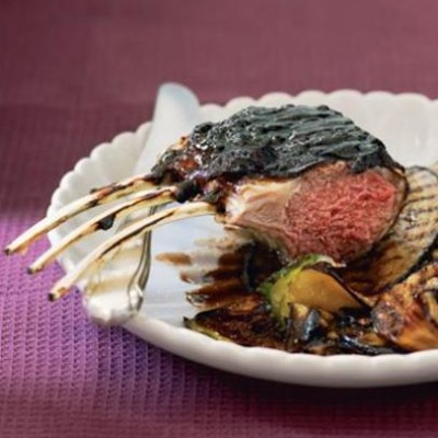 Liquorice-lacquered roasted lamb with brinjal crisps