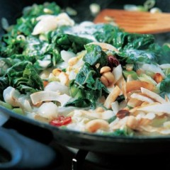 Litchi, spinach and coconut stir fry