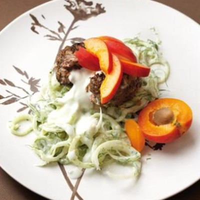 Low-fat ostrich burger with fennel tzatziki and apricot