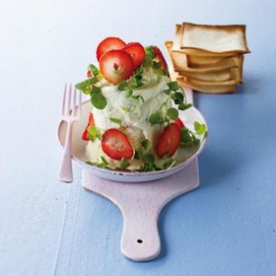 Luxurious gorgonzola, watercress and strawberry terrine served with home-made melba toast