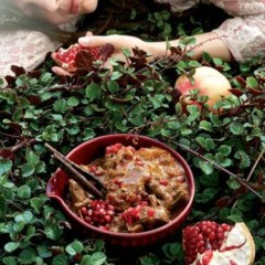 Madras curry with coconut milk and pomegranate