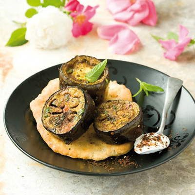 Marinated brinjal with rose-water yoghurt