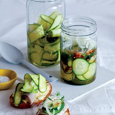 Marinated courgettes or cucumbers