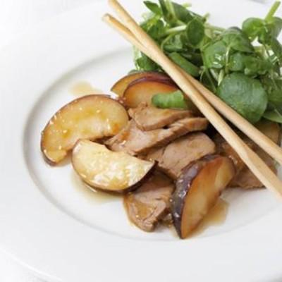 Marinated pork and plum salad