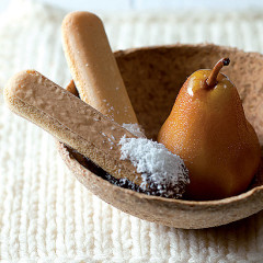 Marsala-poached pears with chocolate dippers