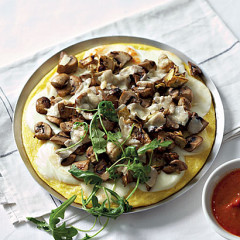 Meat-free mushroom and artichoke polenta pizza