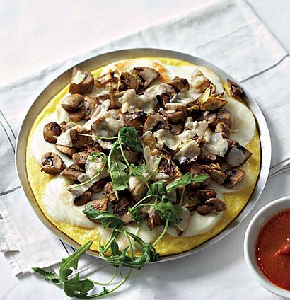 Meat-free mushroom and artichoke polenta pizza   Woolworths TASTE