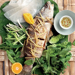 Mekong-style fish platter with whole fried fish