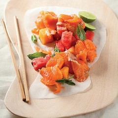Melon and smoked trout salad