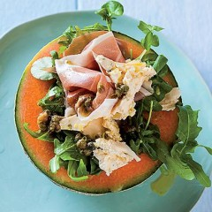 Melon, Cremezola and Parma ham salad