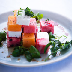 Melon, feta and watercress salad