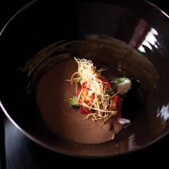 Mexican-style black bean soup with feta salsa cruda