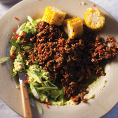 Mexican-style mince with grilled corn