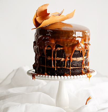 Milk stout-and-chocolate cake with butterscotch sauce, caramel chocolate shards and dark chocolate icing.