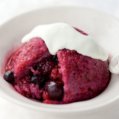 Mini berry bread puddings