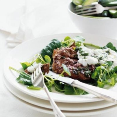 Mini lamb steaks with lemony greens and garlicky yoghurt