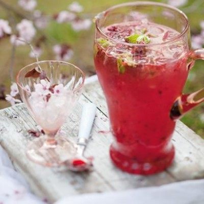 Minted sparkling rose water