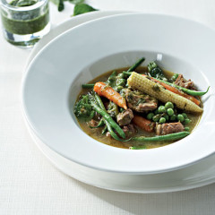 Minted spring lamb and vegetable braise
