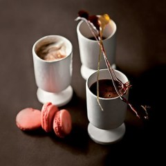 Molten hot chocolate with raspberry macaroons and caramel spoons