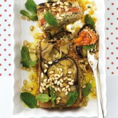Moroccan-infused vegetable terrine with roasted pine nuts