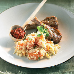 Moroccan rubbed lamb chops with pumpkin couscous