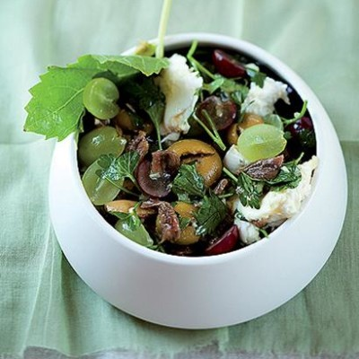 Mozzarella and grape salad with an anchovy-and-honey dressing