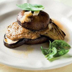 Mushroom and brinjal stack with tahini dressing