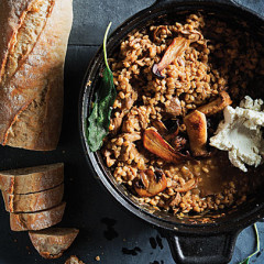 Mushroom barley risotto with goats cheese and sage
