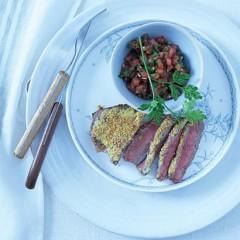 Mustard roast beef with fresh tomato sauce