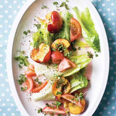 Nectarine and tomato salad with baby cos lettuce