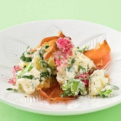 New-style creamy summer potato salad with baked serrano wafers and radish shavings