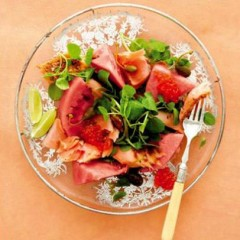 Norwegian salmon, watermelon and watercress salad