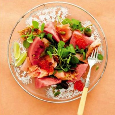 Norwegian salmon, watermelon and watercress salad