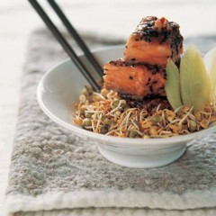 Norwegian salmon with a soyanut butter and sesame crust
