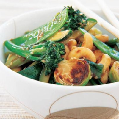 Nut and crispy green stir fry
