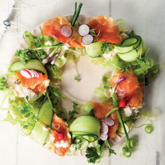 Oak-smoked trout salad wreath