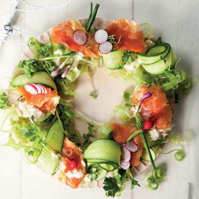 Oak-smoked trout salad wreath