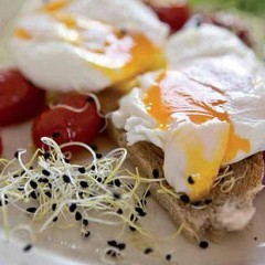 Onion sprouts with poached eggs