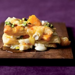 Oozing camembert and honey pastry stacks