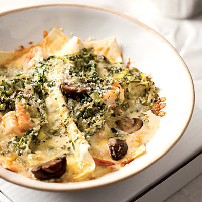 Open mushroom and shrimp lasagne