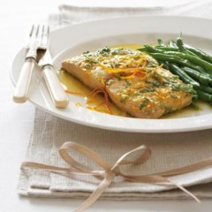Orange basil grilled dorado with stir-fried greens