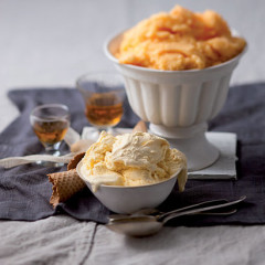 Orange sorbet and easy French vanilla ice cream