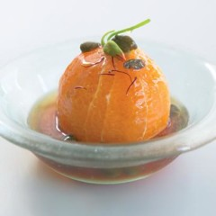 Orange with caper, saffron and verjuice sauce