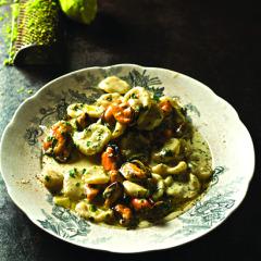 Orecchiette with West Coast mussels in a lemon-garlic cream sauce