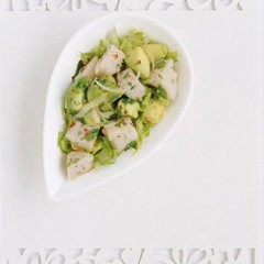 Organic avocado and marinated dorado