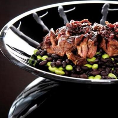 Organic black and edamame soya beans with freerange ribeye steak and red bean sauce
