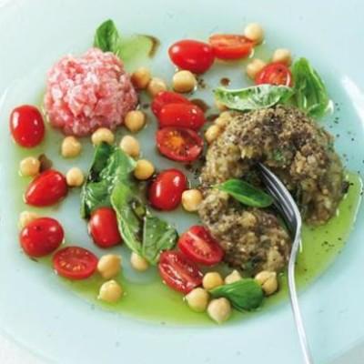 ... brinjal salad, chickpeas, baby tomatoes and basil with tuna tartare