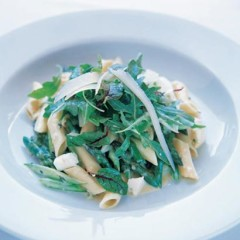 Organic penne with asparagus carbonara
