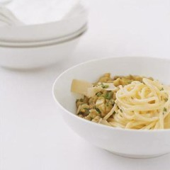 Organic spaghetti with brinjal caviar and Parmigiano reggiano